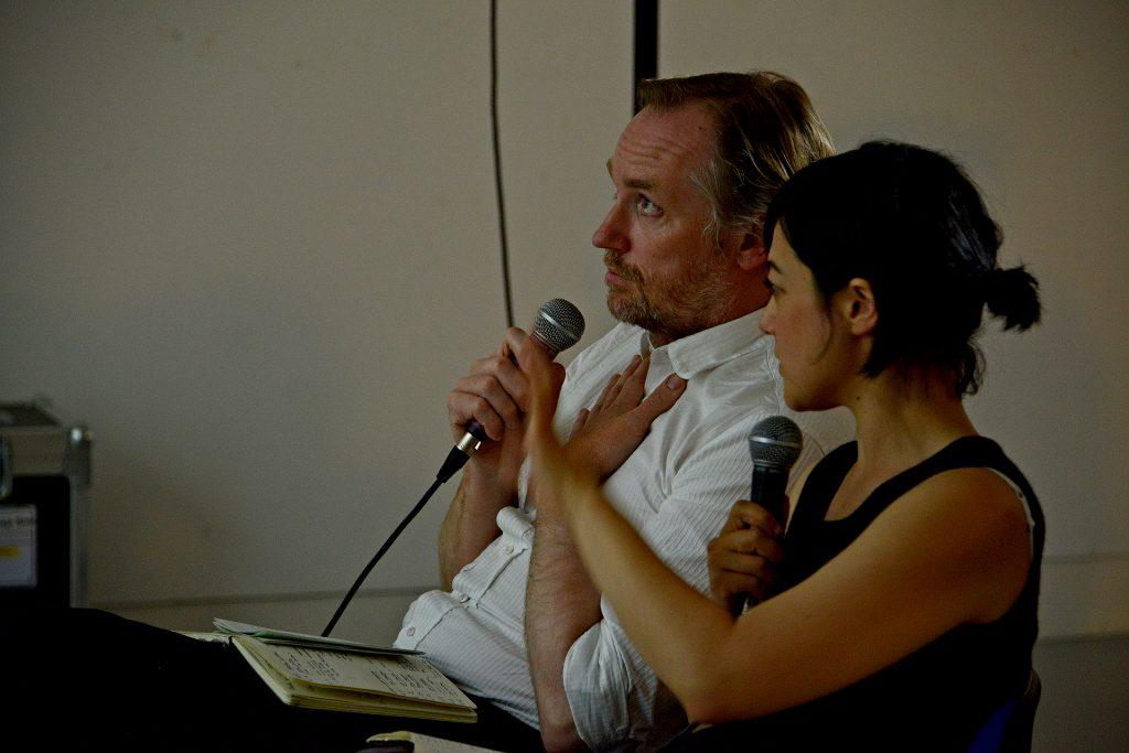 Mark Aerial Waller & Gil Leung in conversation, 2014. Photo: Bernard G Mills