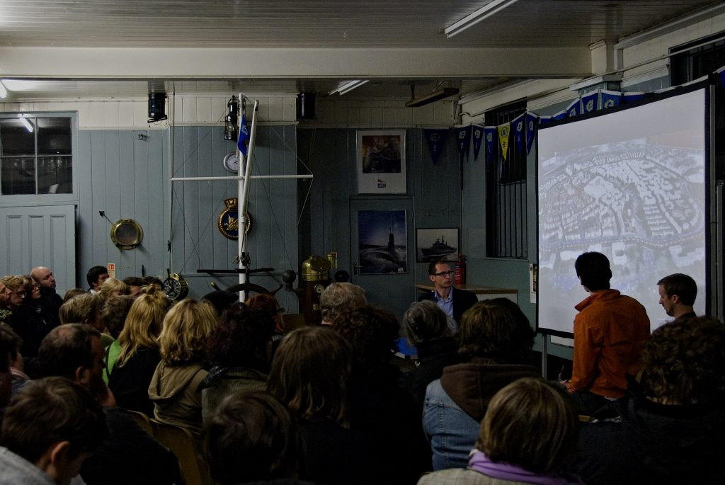 Brian Dillon U-R NOW discussion with Bernd Behr and Tom Dale, Sea Cadets Hall, 2010. Photo: Simon Steven